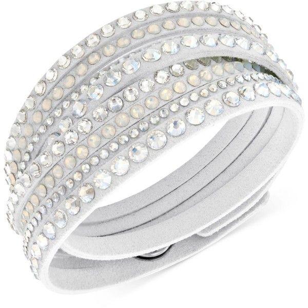 Swarovski White Slake Deluxe Crystal Stud Wrap Bracelet (91 AUD) ❤ liked on  Polyvore b2fb420849