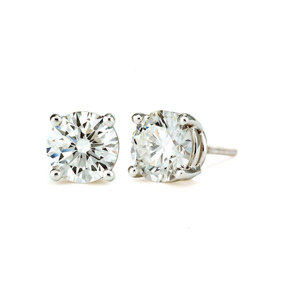 14K White Gold Round Cut Stud Earrings