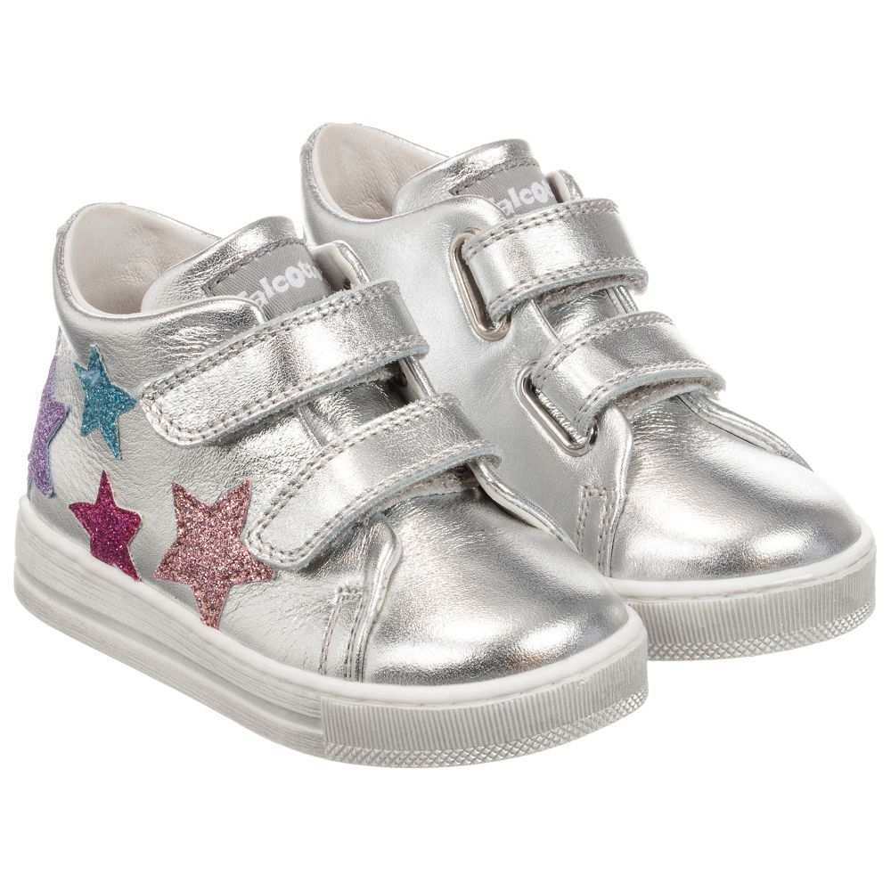 Girls Silver Leather Trainers Leather Trainers Kid Shoes Leather