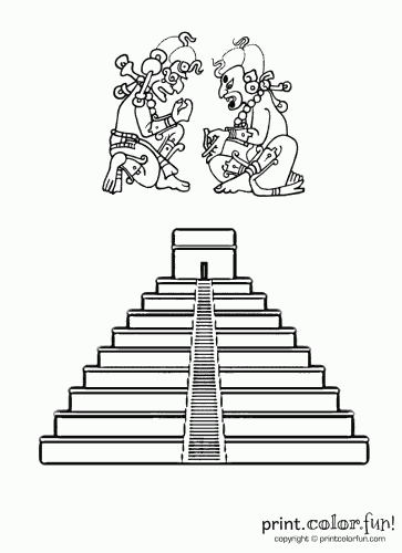 aztec pyramids coloring pages - photo#12