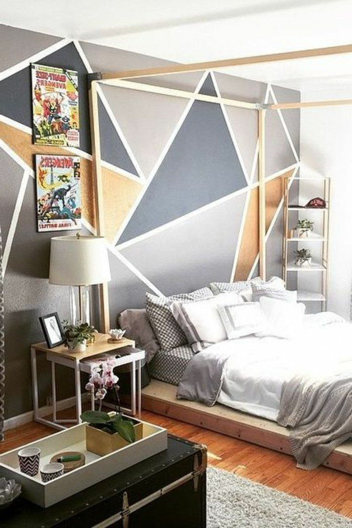 peinture acrylique mur chambre coucher originale lit plateforme rangements pinterest. Black Bedroom Furniture Sets. Home Design Ideas