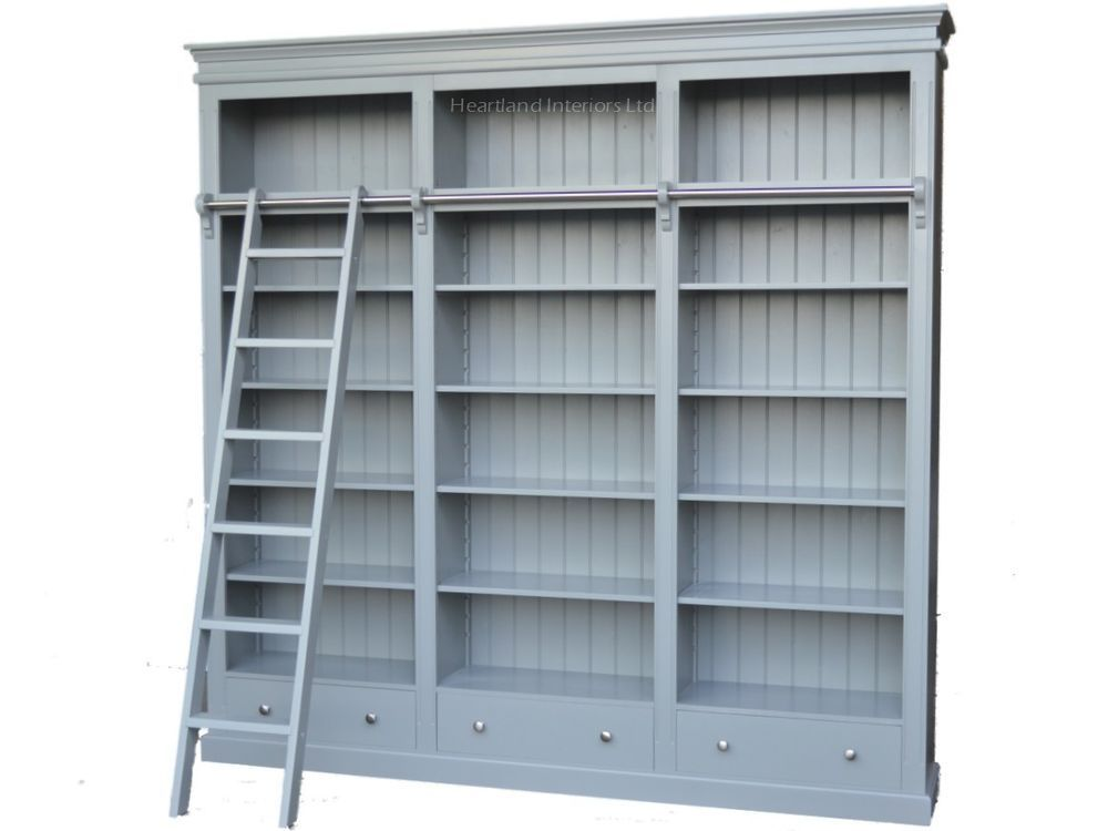 Details about Large Painted Library Bookcase with Ladder100 – Library Bookcase with Ladder