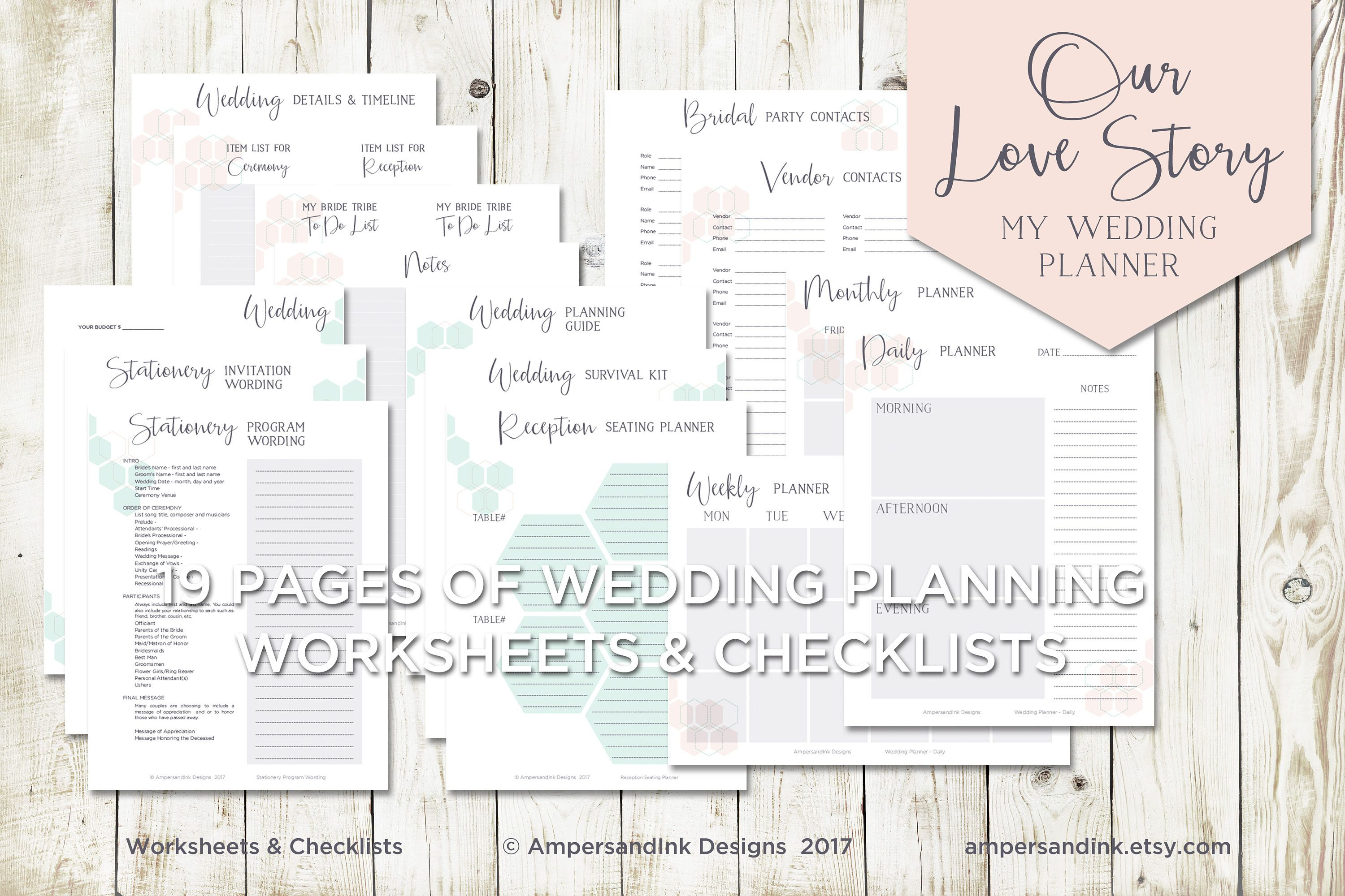 Wedding Planning Tools Dividers Tabs Worksheets and Checklist
