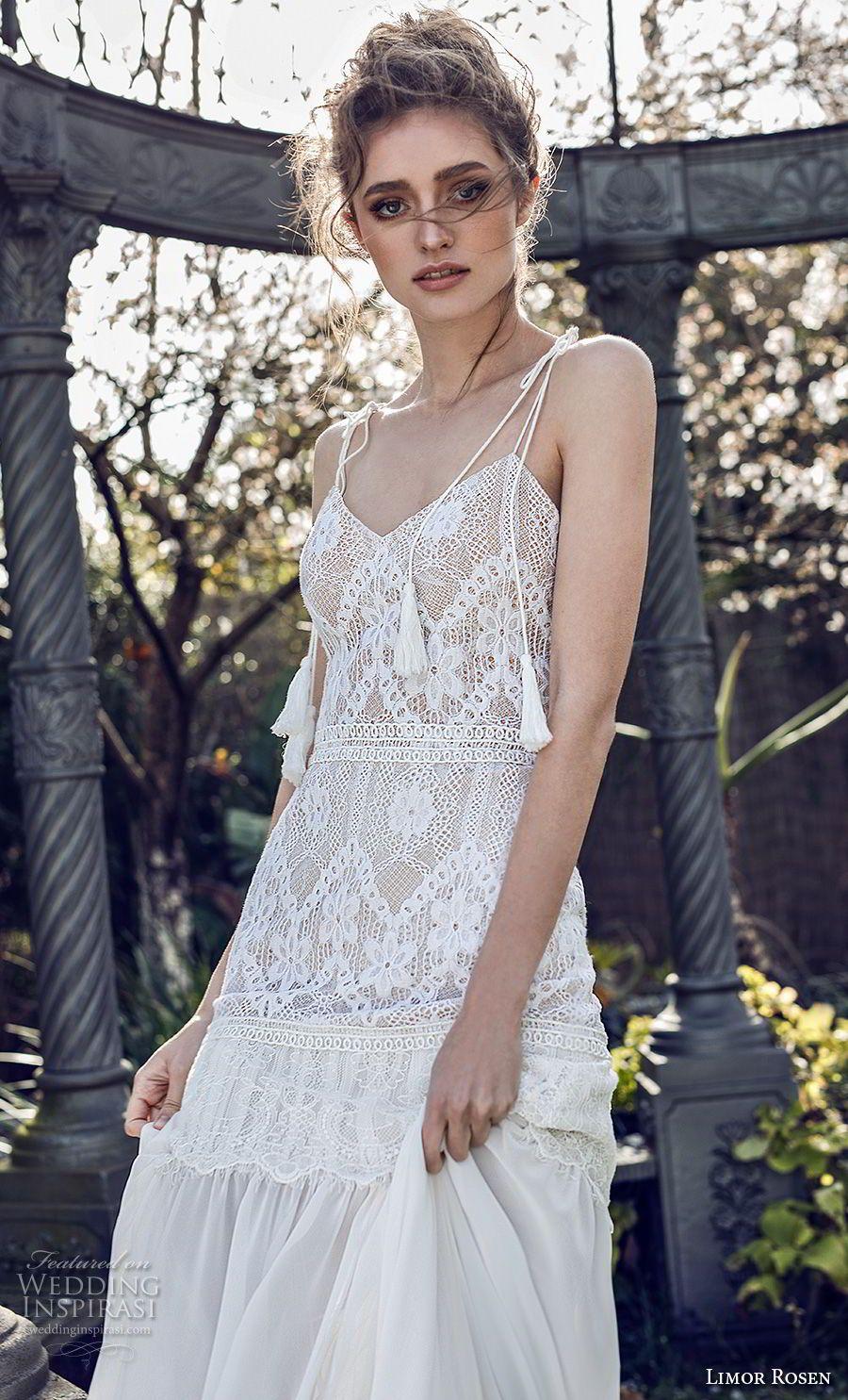bdc7aa83f05 limor rosen 2019 xo bridal sleeveless spaghetti strap diamond neckline  heavily embellished bodice bohemian modified a line wedding dress open back  vhapel ...