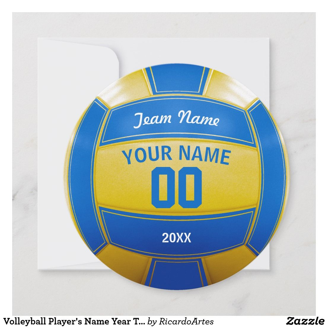 Volleyball Player S Name Year Team Blue And Yellow Thank You Card Zazzle Com Volleyball Players Team Blue Volleyball