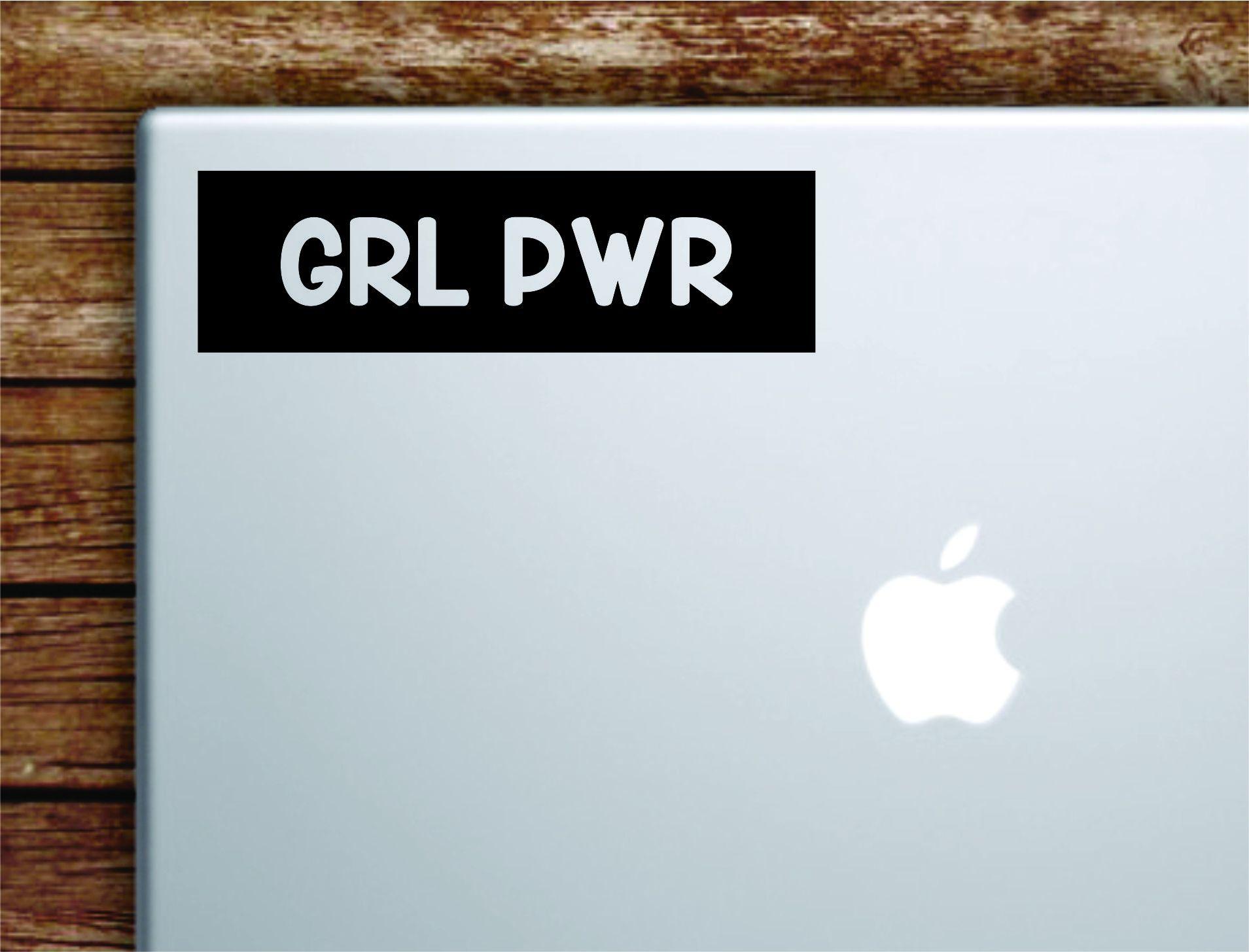 GRL PWR Rectangle Laptop Apple Macbook Quote Wall Decal Sticker Art Vinyl Inspirational Motivational Girls Women Female Feminist Feminist - orange