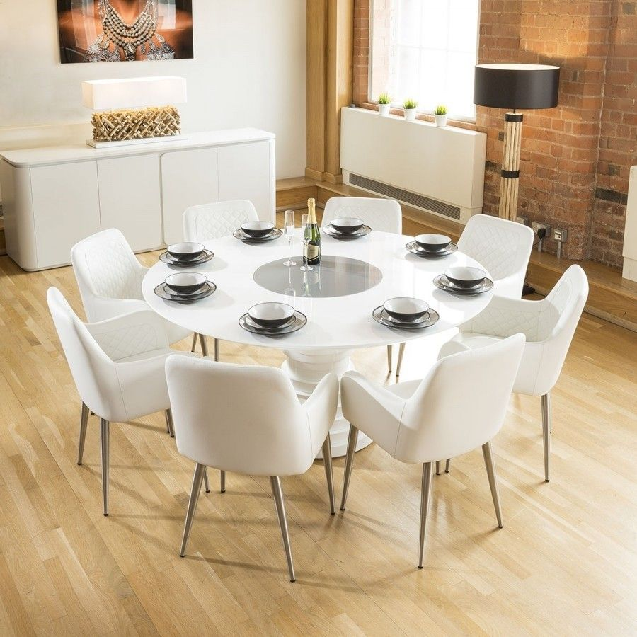 Huge Round White Gloss Dining Table Grey Lazy Susan 8 White