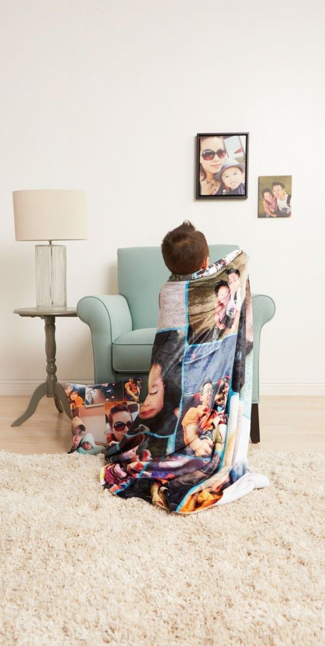 Add personalization to your child's favorite blanket with a photo collage.