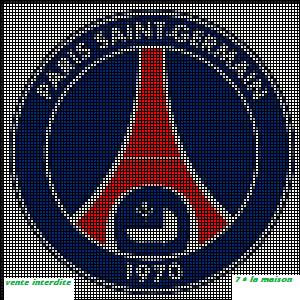 Grille Gratuite Le Logo Du Psg Point De Croix Pixel Art