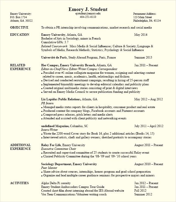 Political Science Internship Resume o