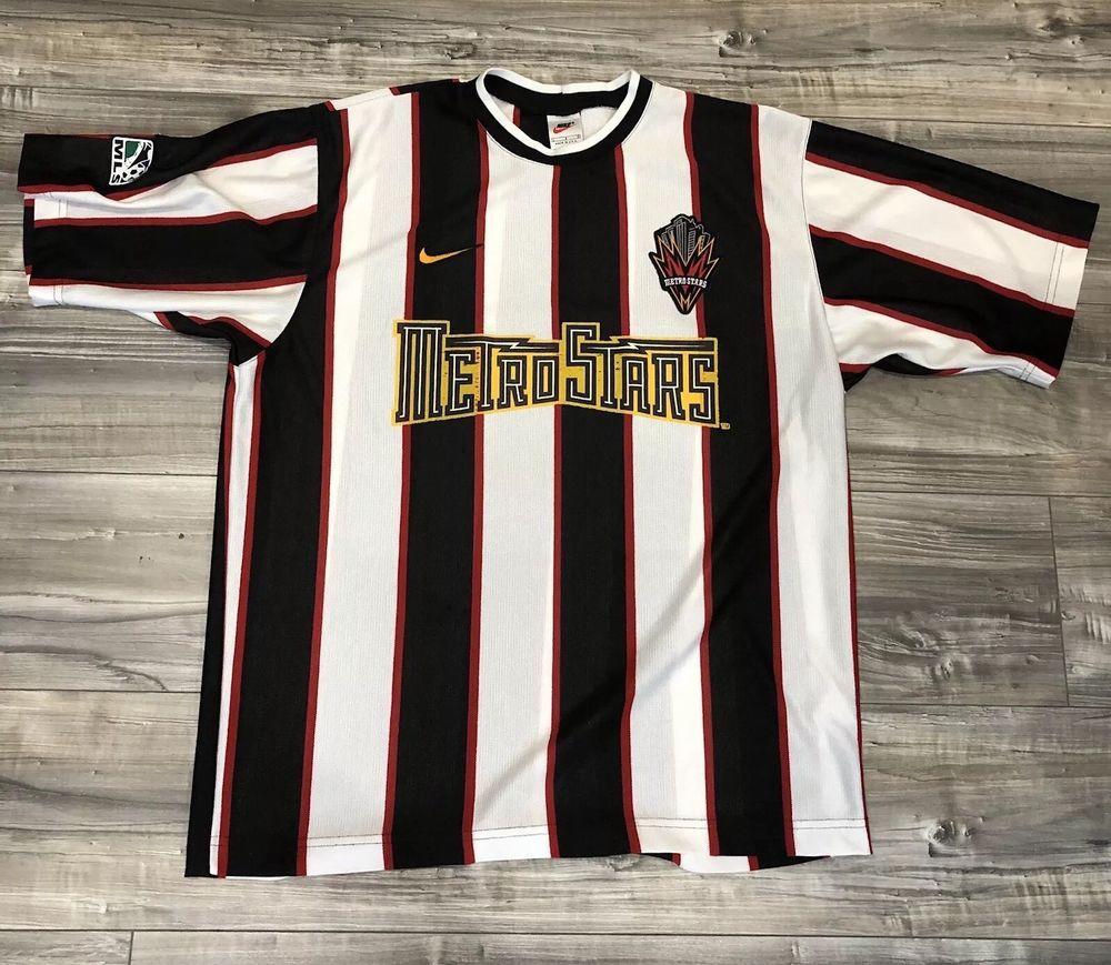 new style 87cd4 736c9 Rare Vintage Metro Stars New York Jersey Soccer Nike MLS Now ...
