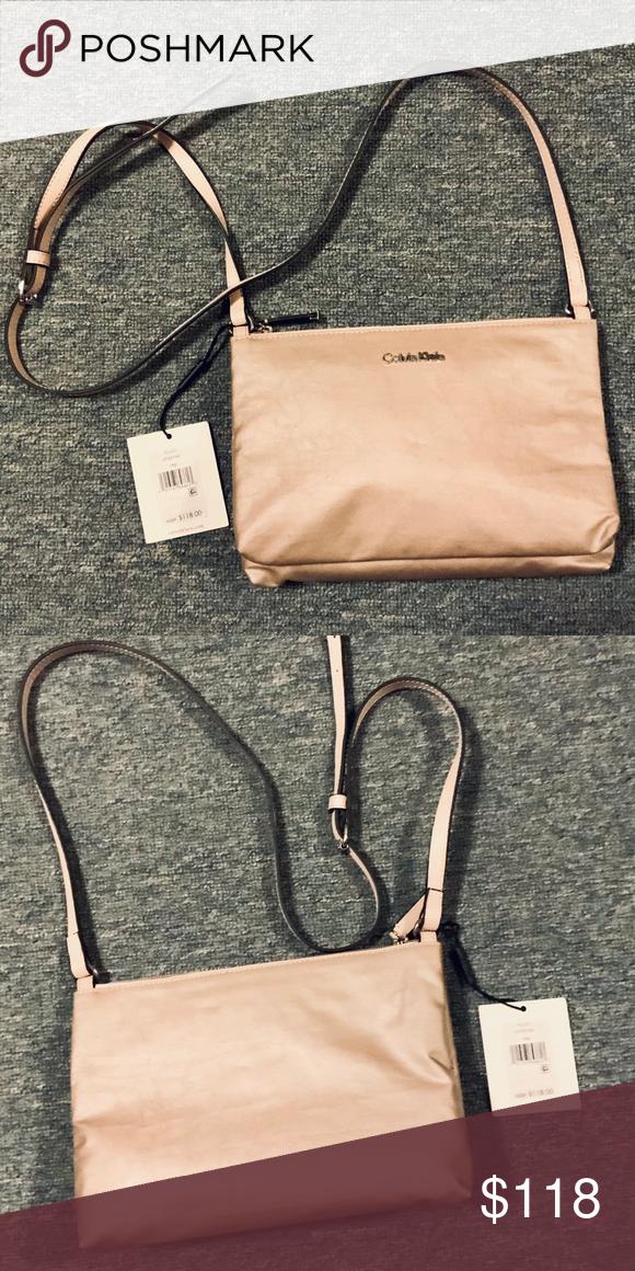 3d3dedb42cb CALVIN KLEIN - Lucy Nylon Top Zip Crossbody Bag ROSE GOLD colored bag Calvin  Klein Bags Crossbody Bags