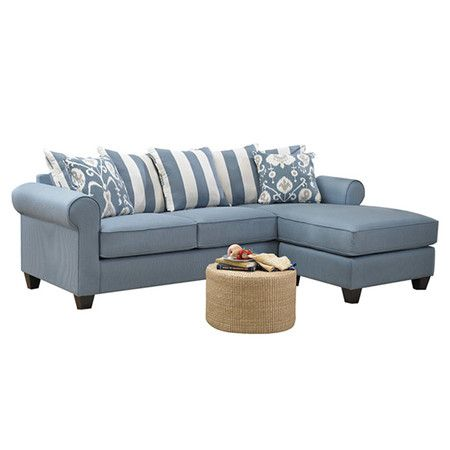 Sectional sofa with blue upholstery and kiln-dried hardwood frame ...