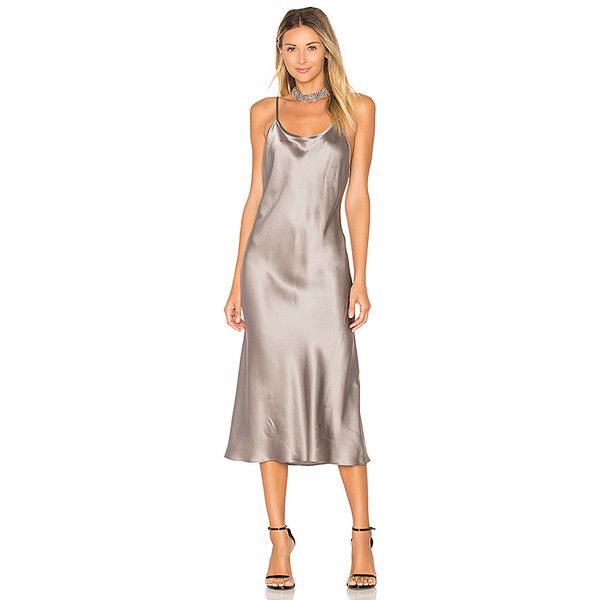 Amanda Uprichard x REVOLVE Slip Dress (£195) ❤ liked on Polyvore featuring dresses, silk dress, brown slip dress, amanda uprichard dress, slip dress and amanda uprichard