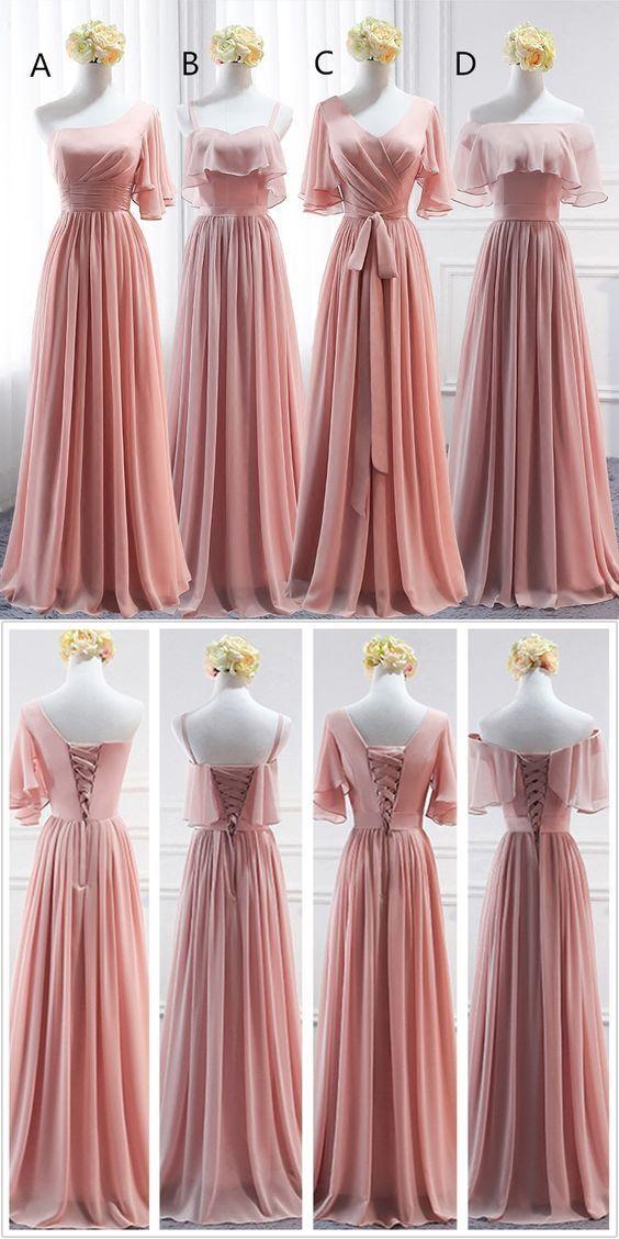 Simple Mismatched A Line Chiffon Floor Length Long Bridesmaid Dresses ,MD367