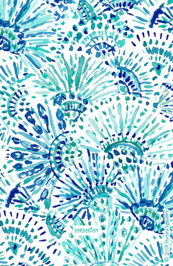 FAN OUT PLAN OUT Blue Coastal Print – BARBARIAN by Barbra Ignatiev | Bold colorful art