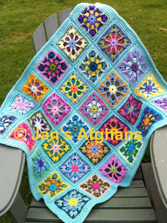 Kaleidoscope crocheted BABY afghan baby blanket 30\