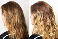 before and after this DIY balayage , twist technique which is must faster  than the traditional