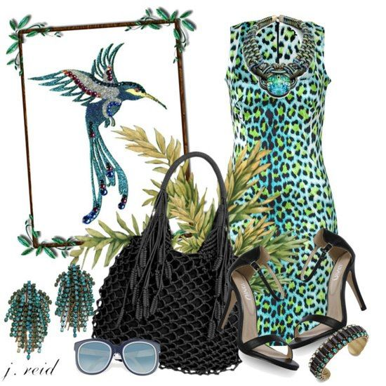 SPRING/SUMMER FASHION 2013:   Work a wild edge into your cocktail attire with this eye catching turquoise/black leopard print shift dress, black leather ankle strap sandals and this black handwoven cotton cord tote bag.