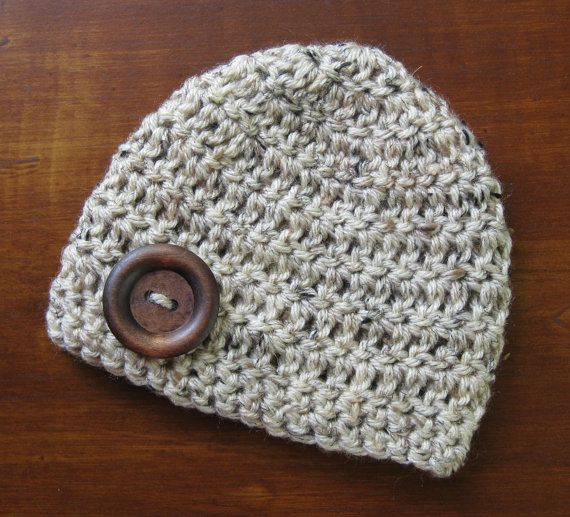 Items similar to Baby Boy Hat Newborn Photo Prop Infant Hat Summer Beanie  Wood Button Baby Shower Gift Crochet Knit Oatmeal Brown Tweed Gray Take  Home ...