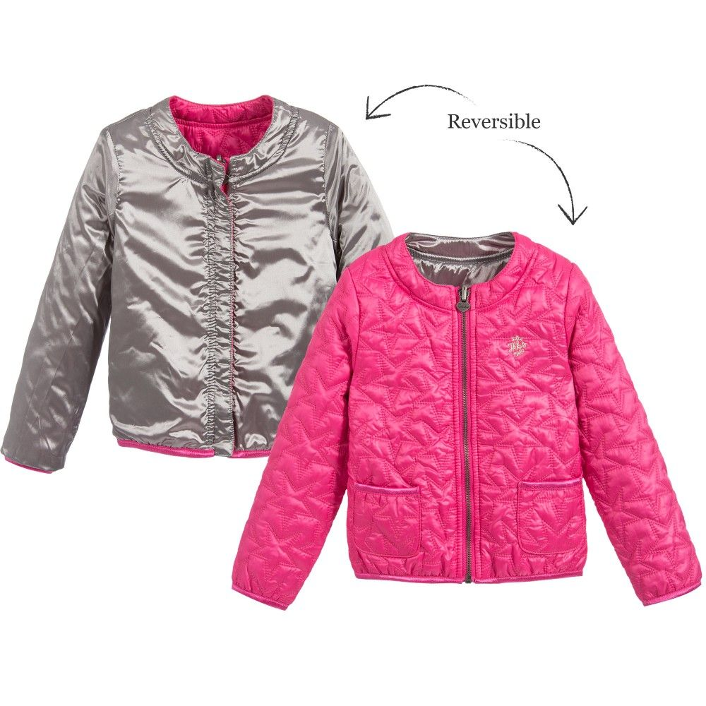 Girls Silver & Pink Padded Reversible Jacket, IKKS, Girl | JACKETS ...