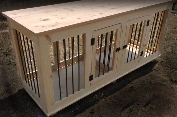Double Large Dog Crate Kennel Furniture