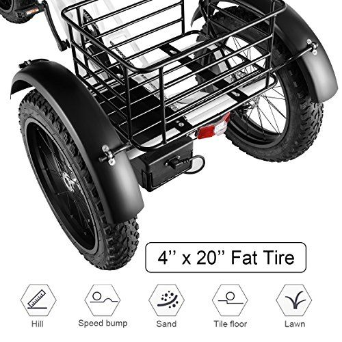a3de78c0e68 Goplus Electric Trike 500W 20'' Fat Tire Electric Tricycle for Adults 48V  10Ah