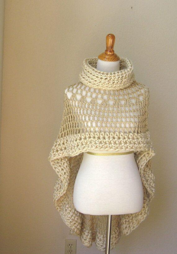 1 Beige Bohemian Poncho Crochet Knit Cream Cape Shawl Turtleneck ...