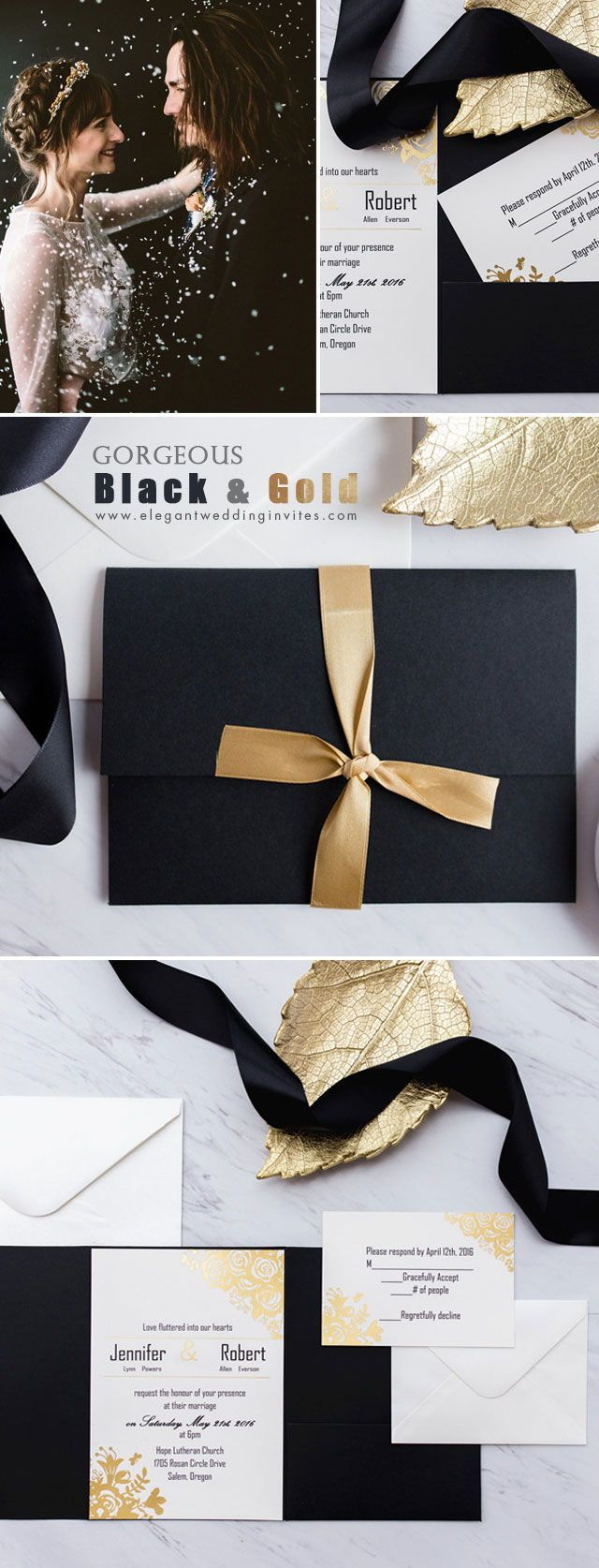 black and gold glitter pocket wedding invitations