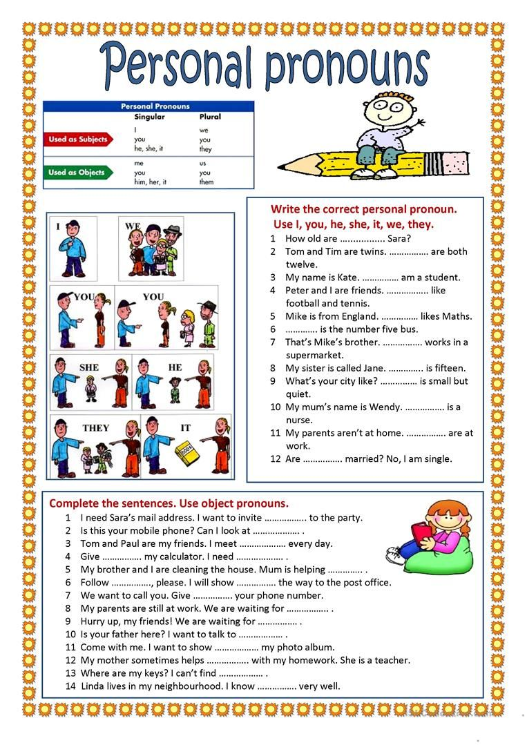 Personal Pronouns Worksheet Free Esl Printable