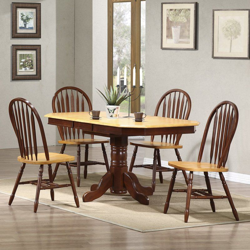 Sunset Trading 5 Piece Pedestal Extension Dining Set