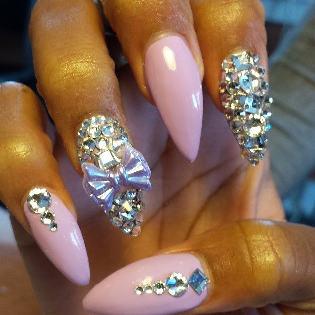 pointed pink diamond nails