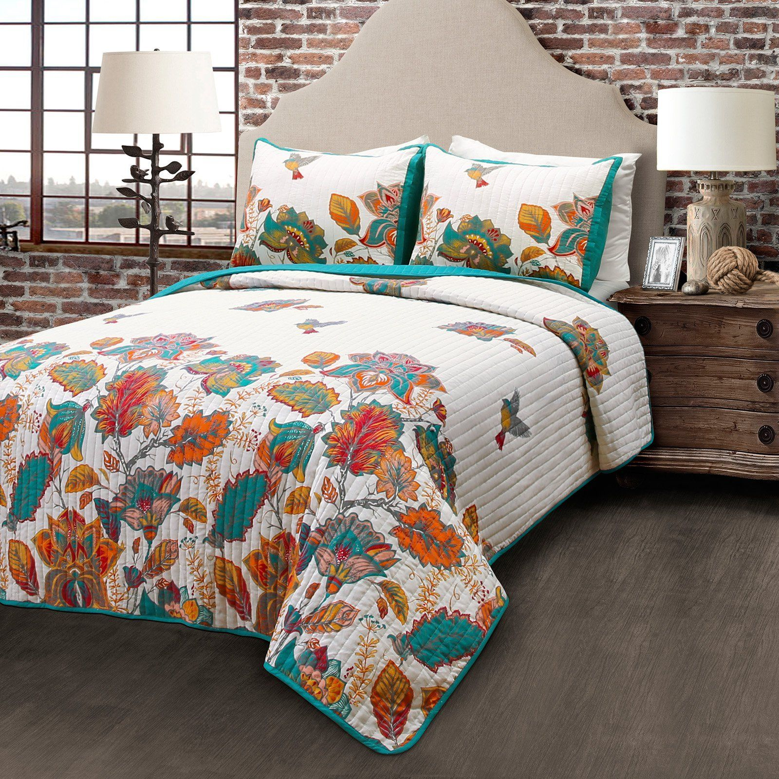 bird and flower 3 piece quilt set by lush decor 16t001215 europe rh pinterest com