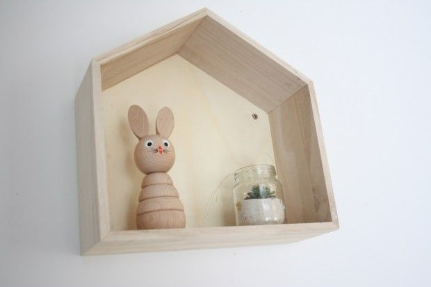 wooden house shaped shelf box