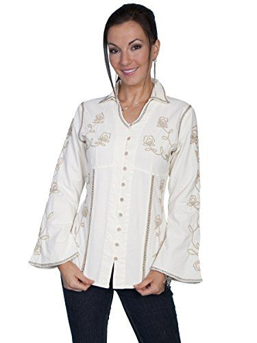 8ecf36330d4 Western Style Clothing · Western Outfits · Scully Women s Floral Embroidered  Top Cream Small Scully http   www.amazon.