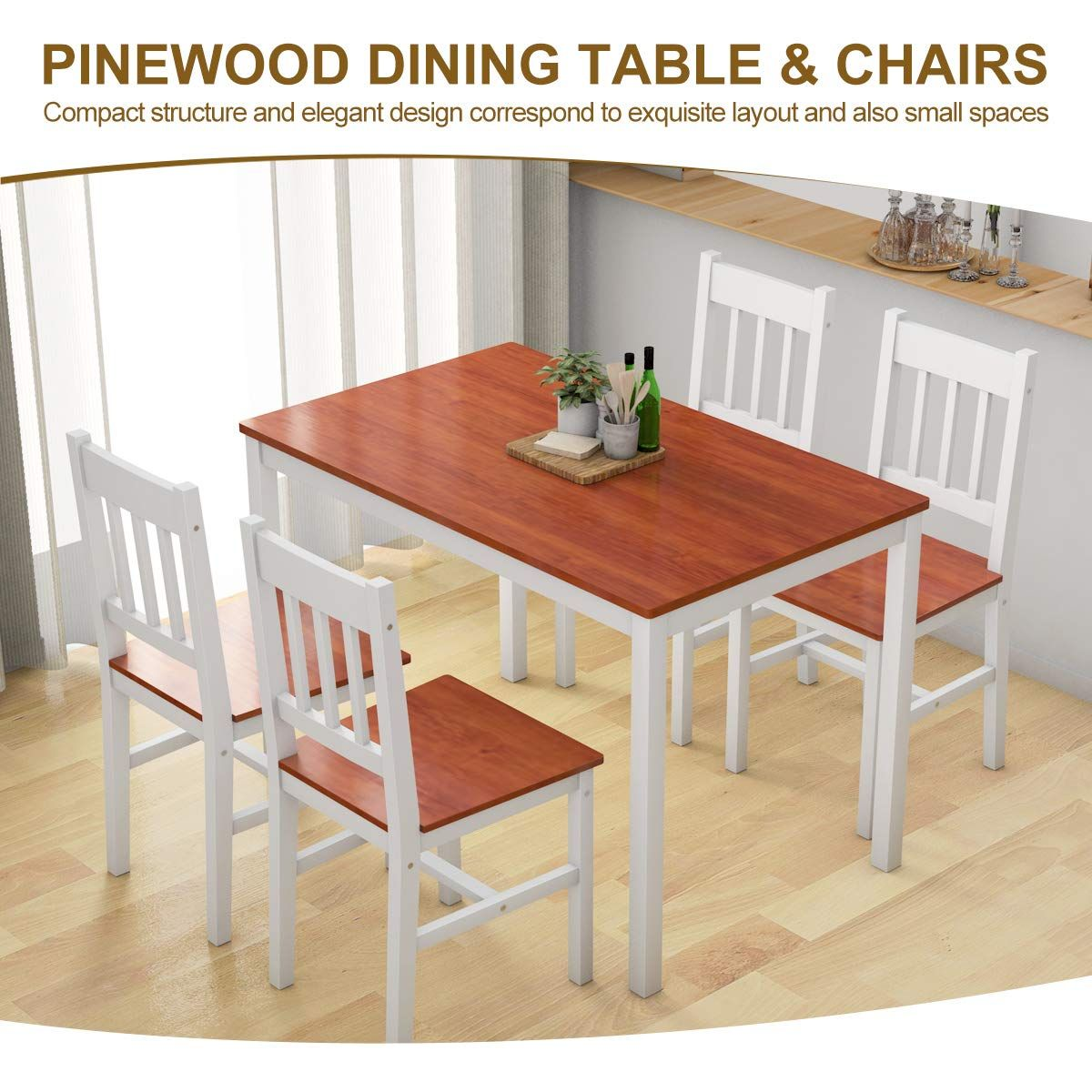 Giantex 5 Piece Wood Dining Table Set 4 Chairs Home Kitchen Breakfast Furniture Whiteandamp Walnut In 2020 Small Space Dining Set Solid Wood Dining Set Dining Table