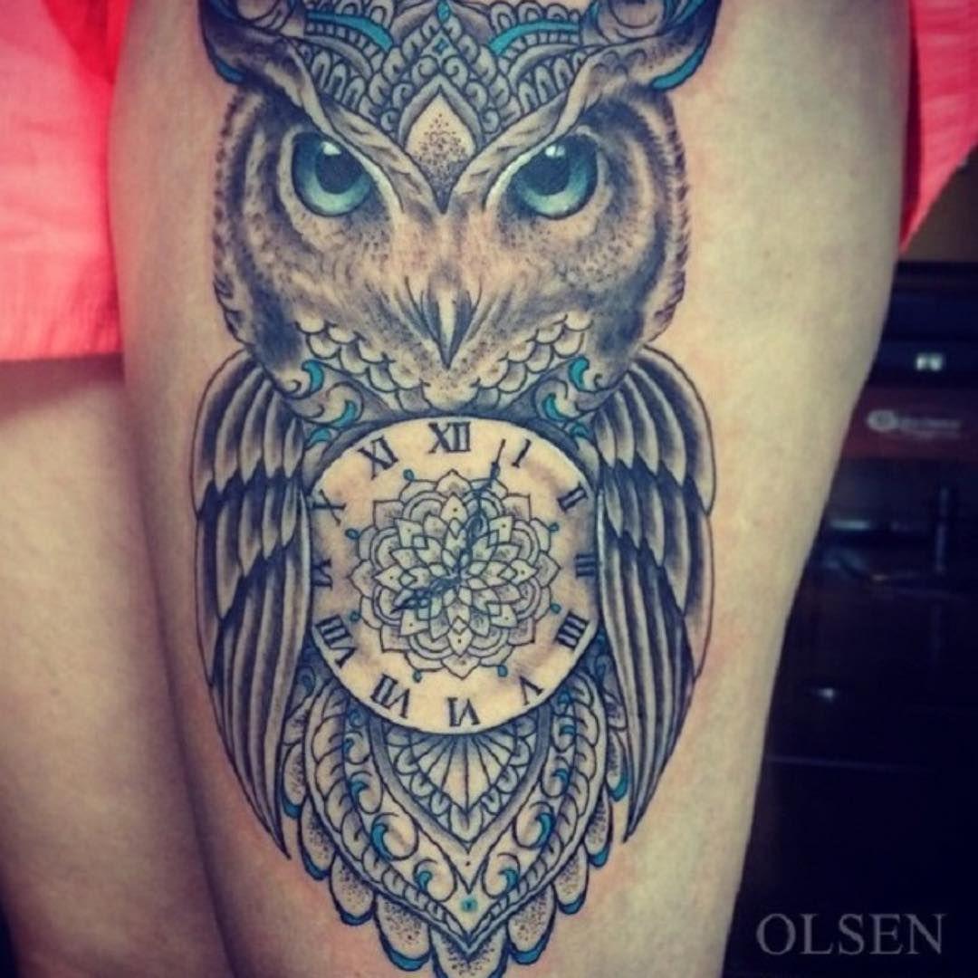 owl and clock tattoo venice tattoo art designs tattoos pinterest tattoo art tattoo and. Black Bedroom Furniture Sets. Home Design Ideas