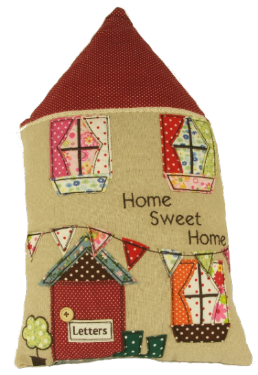 Stylish Home Sweet Home House Shaped Cushion With Patchwork