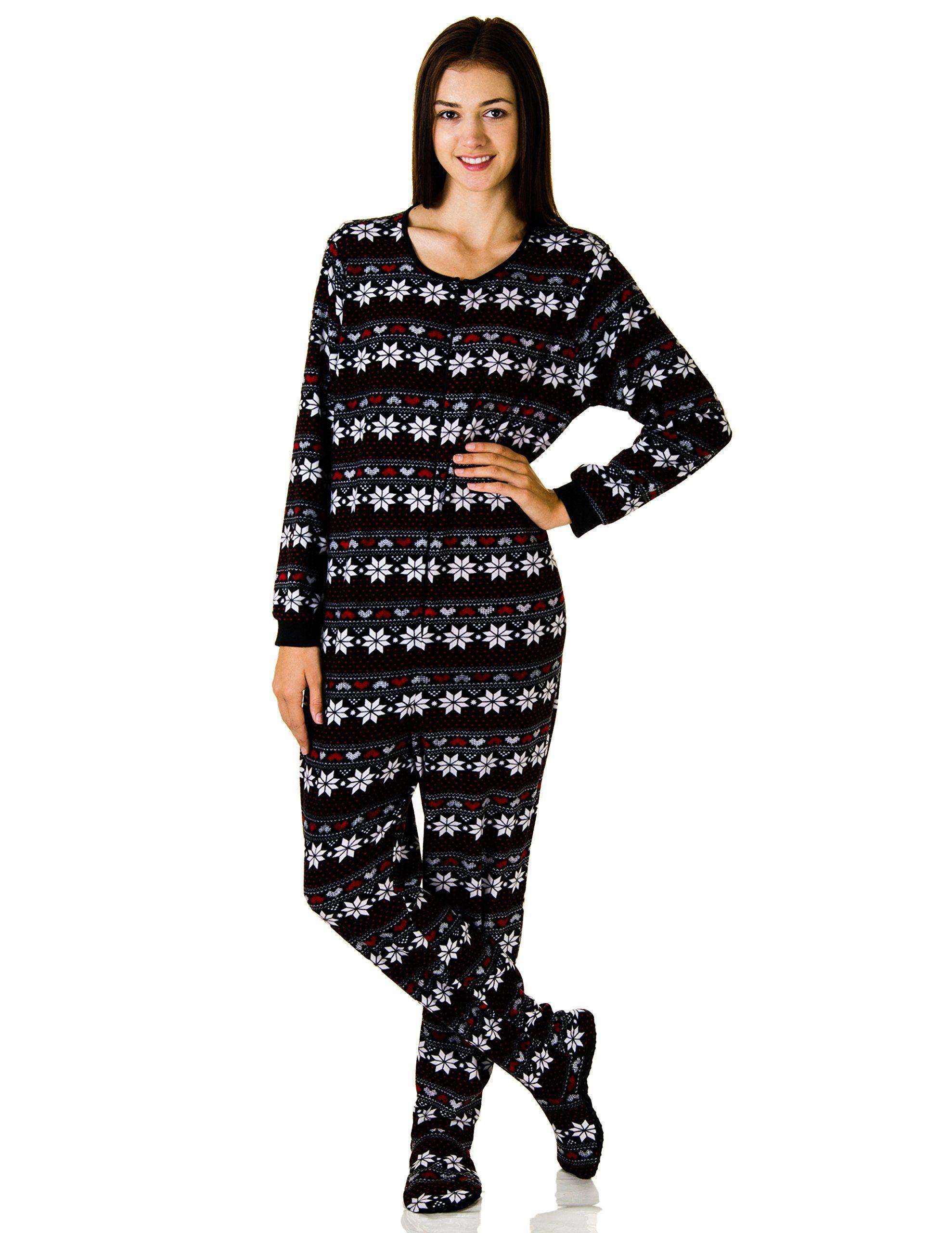 amazoncom rene rofe juniors plush onesie footie pajamas clothing - Juniors Christmas Pajamas