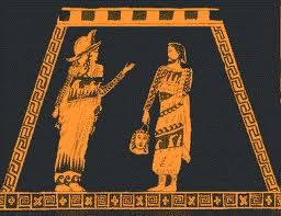 (JY) The Chiton (A long robe made of linen or silk- derived from the Greek word meaning tunic)  and the Himation (Made of heavy wool, and worn as a cloak on the shoulders over a chiton) were traditional costumes in Greek plays