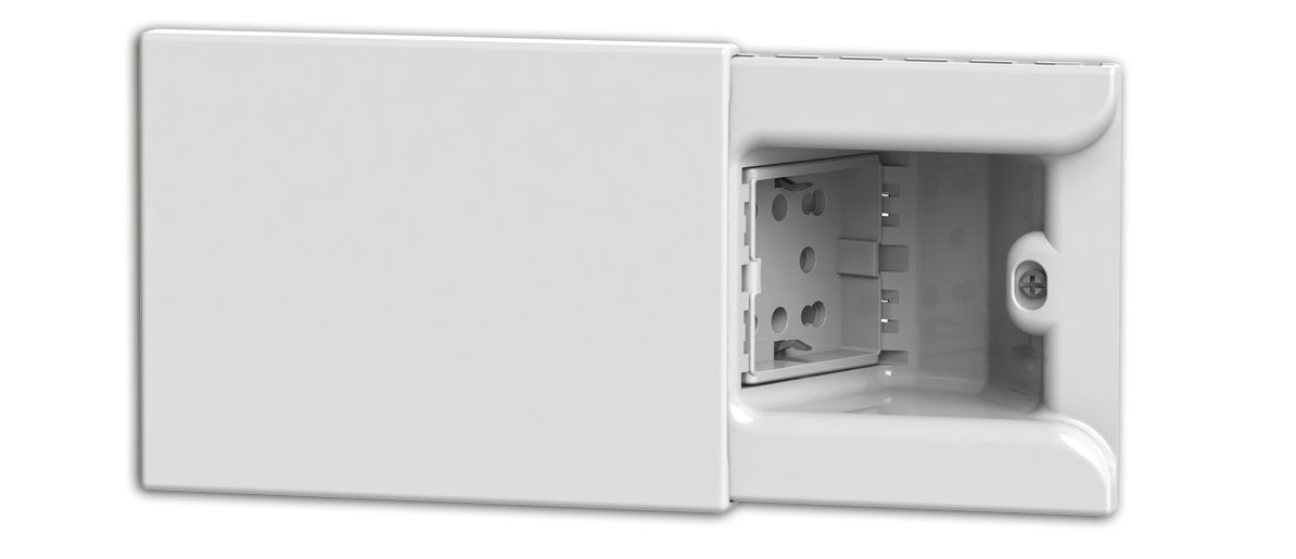 hide the power socket concept the plug disappears inside the wall behind the sliding cover and the wall always stays free and tidy