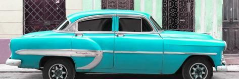Photographic Print: Cuba Fuerte Collection Panoramic – Turquoise Bel Air Classic Car by Philippe Hugonnard : 36x12in