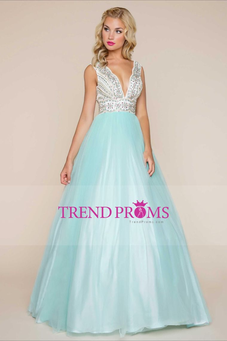 2017 Tulle V Neck Prom Dresses A Line With Beading Floor Length ...