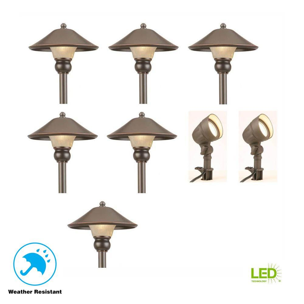 Hampton Bay Low Voltage Bronze Outdoor Integrated Led Landscape Path Light And Flood Light Kit 8 Pack Iwv6628l The Home Depot Low Voltage Outdoor Lighting Landscape Lighting Design Landscape Lighting