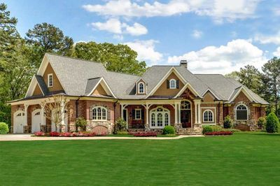striking one story southern house plan with expansive lower level rh pinterest com