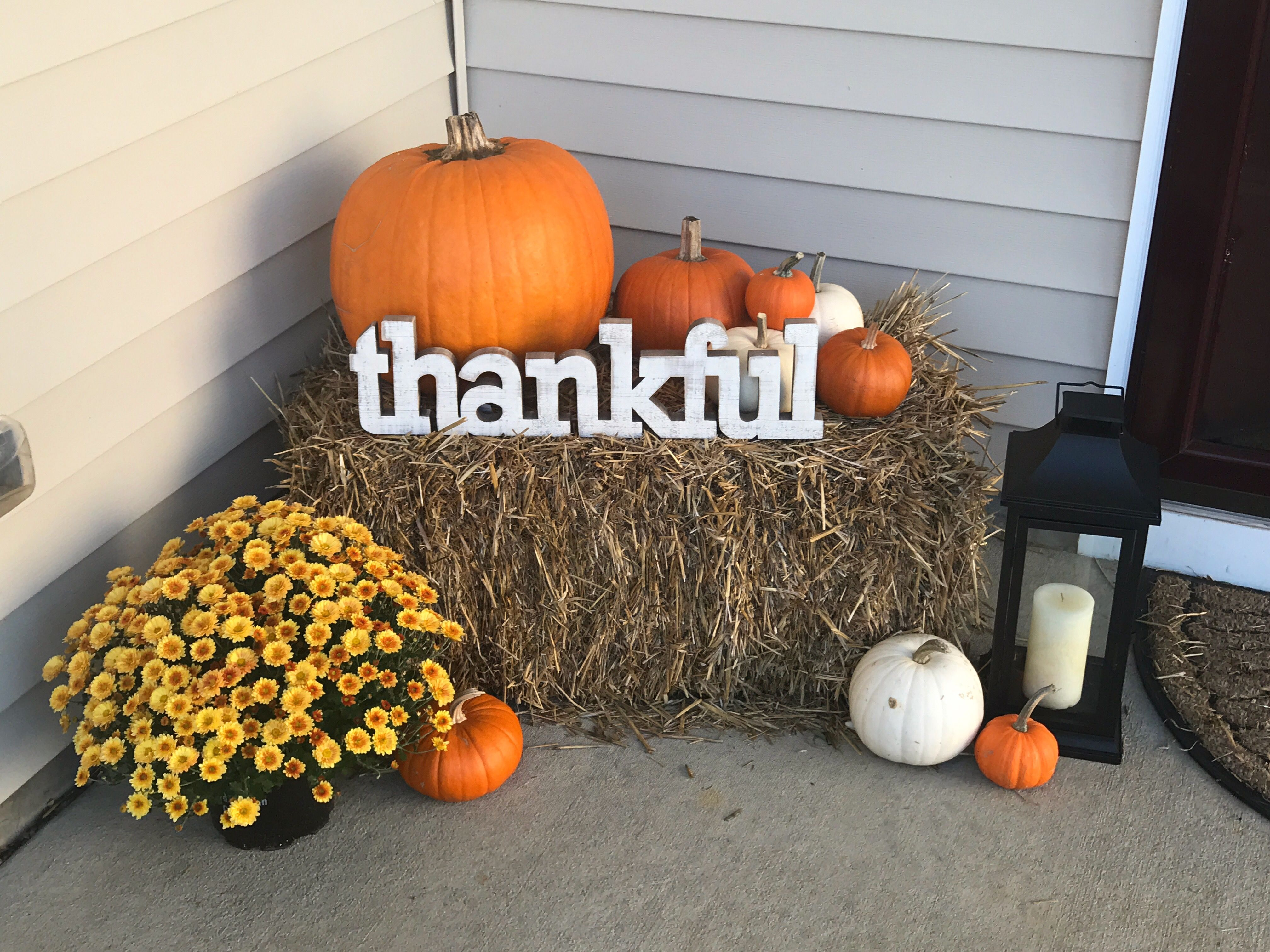 Fall Porch Decor Hay Bale 6 From Lowe S Lantern From Tj Maxx Thankful Sign From Hobby Lobb Fall Decorations Porch Fall Front Porch Decor Fall Patio Decor