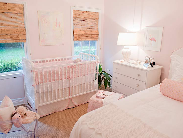 Adorable Pink Girl 39 S Nursery Guest Room With Light Pink Walls Paint Color White Jenny Lind Crib