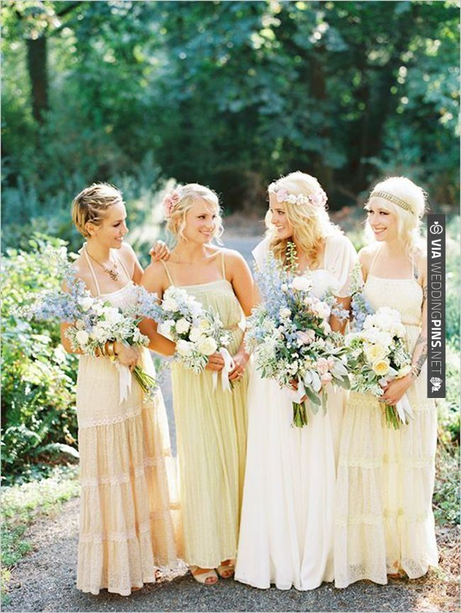 fall bridal party pictures%0A boho bridesmaids  love the pale yellow  u     powder blue colour combo    CHECK  OUT