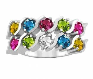 Jared FamilyMothers Ring Round Birthstones Design in Silver or