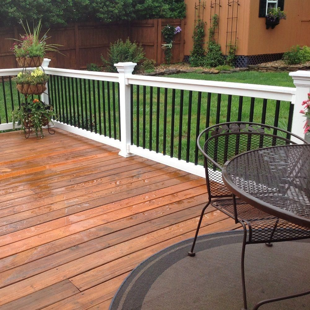 Weatherables Vilano 3 Ft H X 8 Ft W Vinyl White Railing Kit Wwr Thdva36 S8 The Home Depot Backyard Patio Patio Railing Patio Deck Designs